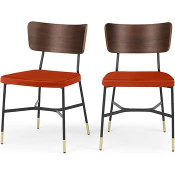 Set of 2 Amalyn Dining chair, Walnut & Flame Orange Velvet (H78 x W47 x D54cm)