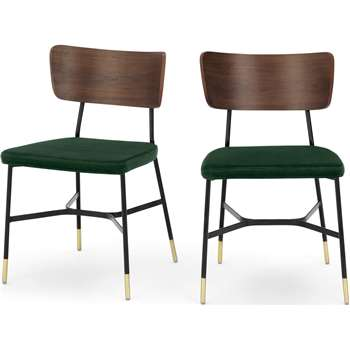 Set of 2 Amalyn Dining Chairs, Pine Green Velvet (H78 x W47 x D54cm)
