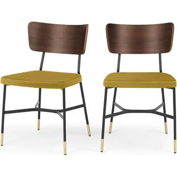 Set of 2 Amalyn Dining Chairs, Walnut and Vintage Gold Velvet (H78 x W47 x D54cm)