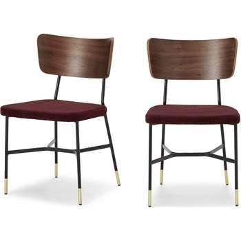 Set of 2 Amalyn Dining Chairs, Walnut & Rosewood Corduroy Velvet (H78 x W47 x D54cm)