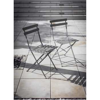 Set of 2 Bistro Chairs in Charcoal - Steel (78 x 50cm)