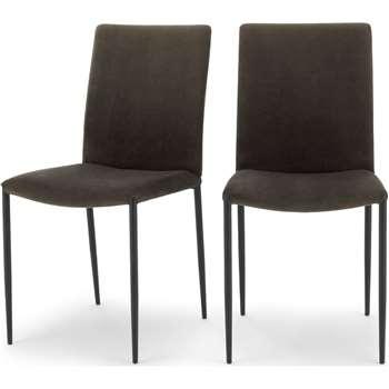 Set of 2 Braga Dining Chairs, Otter Grey Velvet (H90 x W45 x D57cm)