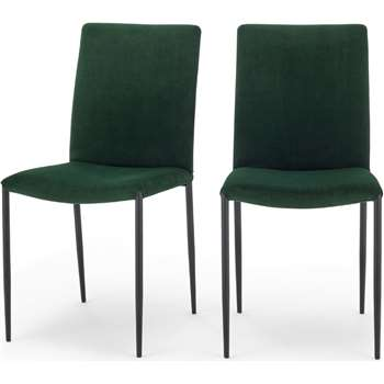 Set of 2 Braga Dining Chairs, Pine Green Velvet (H90 x W45 x D57cm)
