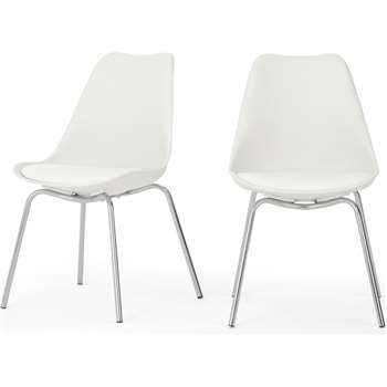 Set of 2 Briony Dining Chairs, Chrome and White (H84 x W49 x D54cm)