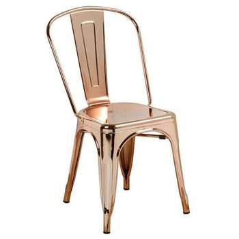 Set of 2 Copper finish Tolix style Vintage French Cafe Chairs (84 x 36cm)