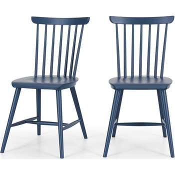 Set of 2 Deauville Dining Chairs, Slate Blue (H84 x W47 x D57cm)