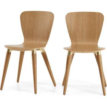 Set of 2 Edelweiss Dining Chairs, Oak and Brass (H81 x W48 x D49cm)