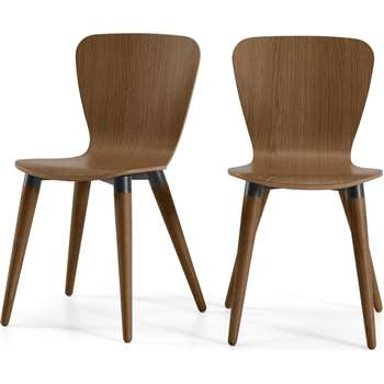 Set of 2 Edelweiss Dining Chairs, Walnut and Black (H81 x W48 x D49cm)