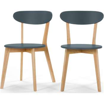 Set of 2 Fjord Dining Chairs, Oak and Blue (H80 x W49 x D55cm)