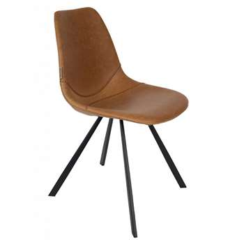 Set of 2 Franky Chairs in PU Leather - Brown