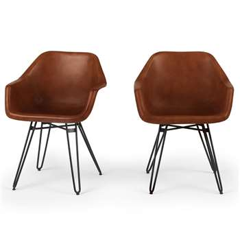 Set of 2 Hektor Tub Dining Chair, Tan and Black (H81 x W61 x D53cm)