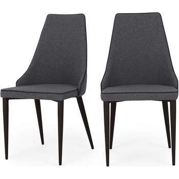Set of 2 Julietta Dining Chairs, Marl Grey (H93 x W46 x D55cm)