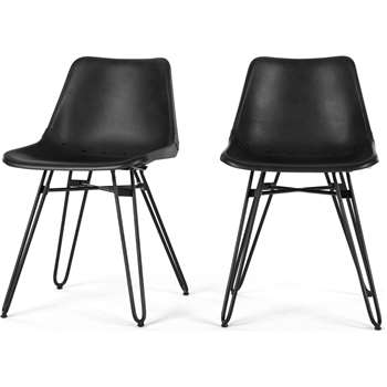 Set of 2 Kendal Dining Chairs, Black (H76 x W46 x D52cm)