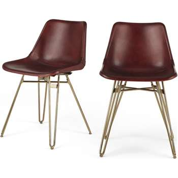 Set of 2 Kendal Dining Chairs, Oxblood and Brass (H76 x W46 x D52cm)