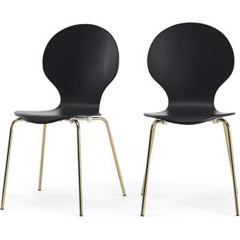 Set of 2 Kitsch Dining Chairs, Black and Brass (H87 x W47 x D54cm)