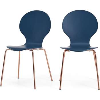 Set of 2 Kitsch Dining Chairs, Blue and Copper (H87 x W47 x D54cm)