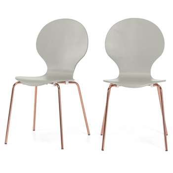 Set of 2 Kitsch Dining Chairs, Willow Grey and Copper Legs (H87 x W47 x D54cm)