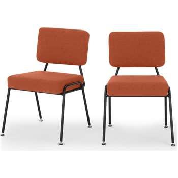 Set of 2 Knox dining chairs, Retro Orange (H80 x W56 x D63cm)