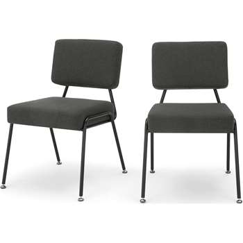 Set of 2 Knox dining chairs, Soot Grey (H80 x W56 x D63cm)