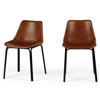 Set of 2 Lodi Dining Chairs, Tan and Black (H76 x W46 x D52cm)