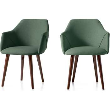 Set of 2 Lule Carver Dining Chairs, Bay Green and Walnut (H83 x W60 x D61cm)