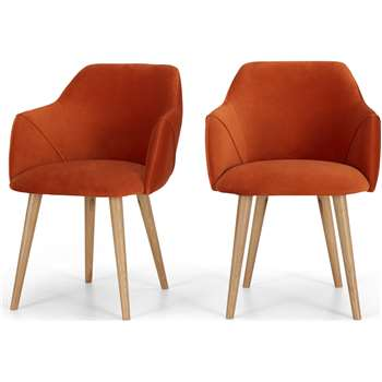 Set of 2 Lule Carver Dining Chairs, Flame Orange velvet and Oak (H83 x W60 x D61cm)