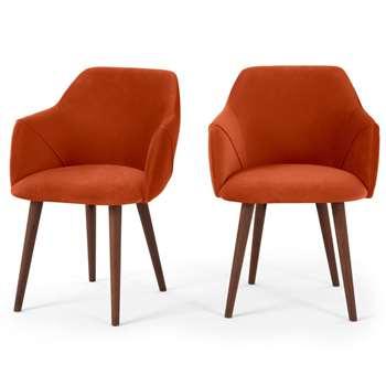 Set of 2 Lule Carver Dining Chairs, Flame Orange Velvet (H83 x W60 x D61cm)