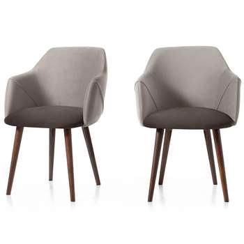 Set of 2 Lule Carver Dining Chairs, Light and Dark Grey Velvet (H83 x W60 x D61cm)