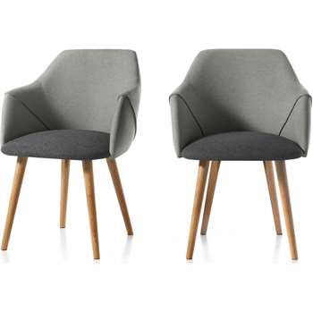 Set of 2 Lule Carver Dining Chairs, Marl and Hail Grey and Oak (H83 x W63 x D61cm)