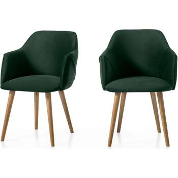 Set of 2 Lule Carver Dining Chairs, Pine Green Velvet and Oak (H83 x W60 x D61cm)