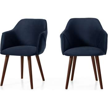 Set of 2 Lule Carver Dining Chairs, Royal Blue Velvet and Walnut (H83 x W60 x D61cm)