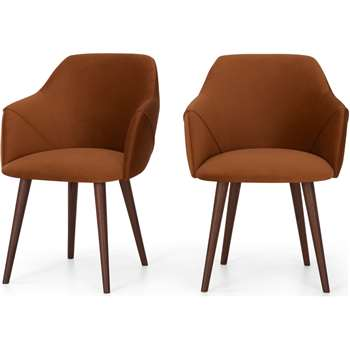 Set of 2 Lule Carver Dining Chairs, Rust Velvet and Walnut (H83 x W60 x D61cm)