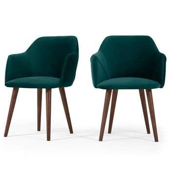 Set of 2 Lule Carver Dining Chairs, Seafoam Blue Velvet (H83 x W60 x D61cm)