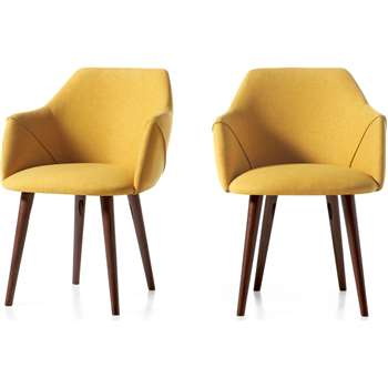Set of 2 Lule Carver Dining Chairs, Yellow and Walnut (H83 x W60 x D61cm)