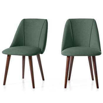 Set of 2 Lule Dining Chairs, Bay Green and Walnut (H83 x W53 x D61cm)