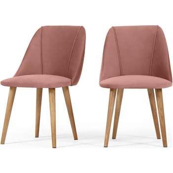Set of 2 Lule Dining Chairs, Blush Pink Velvet (H83 x W53 x D61cm)