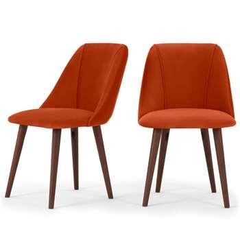 Set of 2 Lule Dining Chairs, Flame Orange Velvet (H83 x W53 x D61cm)