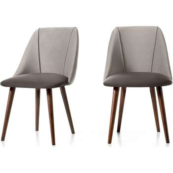 Set of 2 Lule Dining Chairs, Light and Dark Grey Velvet (H83 x W53 x D61cm)