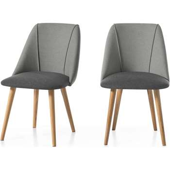 Set of 2 Lule Dining Chairs, Marl and Hail Grey and Oak (H83 x W53 x D61cm)