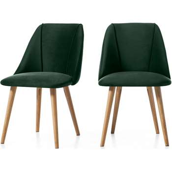 Set of 2 Lule Dining Chairs, Pine Green Velvet and Oak (H83 x W53 x D61cm)