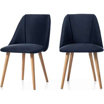 Set of 2 Lule Dining Chairs, Royal Blue Velvet and Oak (H83 x W53 x D61cm)