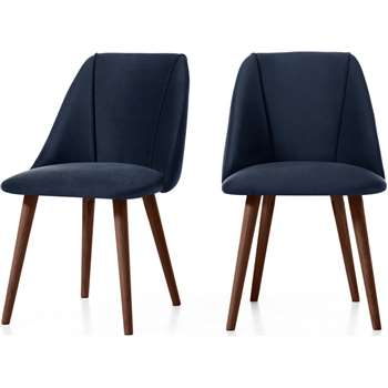 Set of 2 Lule Dining Chairs, Royal Blue Velvet and Walnut (H83 x W53 x D61cm)