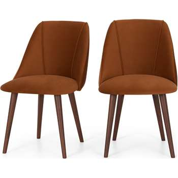 Set of 2 Lule Dining Chairs, Rust Velvet and Walnut (H83 x W53 x D61cm)