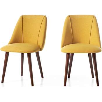 Set of 2 Lule Dining Chairs,Yellow and Walnut (H83 x W53 x D61cm)