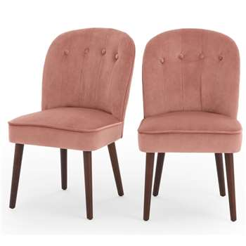 Set of 2 Margot Dining Chairs, Blush Pink Velvet (H86 x W49 x D63cm)