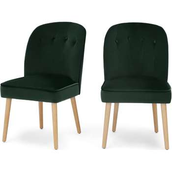 Set of 2 Margot Dining Chairs, Pine Green Velvet and Light Wood (H86 x W49 x D63cm)