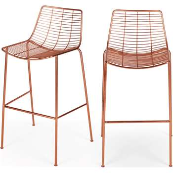Set of 2 Marvel Bar Stools, Copper (H103 x W51 x D49cm)