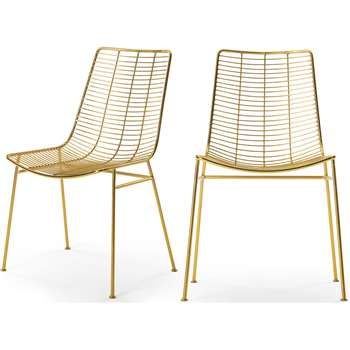 Set of 2 Marvel Dining Chairs, Brass (H87 x W57 x D54cm)