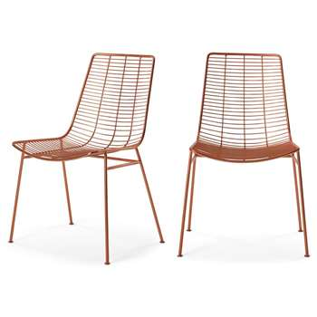 Set of 2 Marvel Dining Chairs, Copper (H87 x W57 x D54cm)