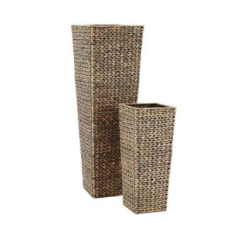 Set Of 2 Medium Sized Arrow Weave Vases With Square Base - Grey (Height 95/52cm)